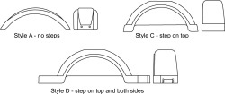 """Style C, Step Top, for 13"""" Tires, White  …"""