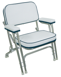 Folding Deck Chair with Aluminum Frame, White …