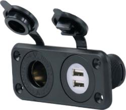 12V DUAL USB&REC COMBO W/PL