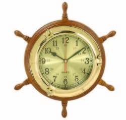 "Boat Wheel Porthole Clock, 13"" - High Sh …"