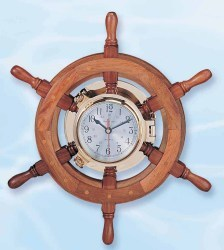 "Boat Wheel Porthole Clock, 30"" - High Sh …"