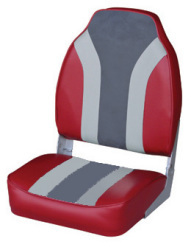 Classic High Back Fishing Boat Seat, Red-Gray …