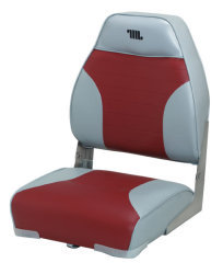 Mid-Back Folding Bass Boat Seat, Gray-Red - W …