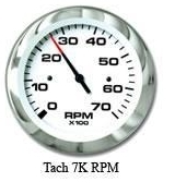 Tachometer, 7K, Outboard Alt & 4-Cycle Ga …