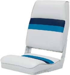 Deluxe Pontoon Fold Down Seat, White-Navy-Blu …