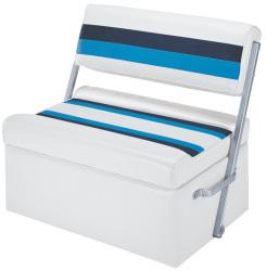 Deluxe Pontoon Flip Flop Seat, White-Navy-Blu …