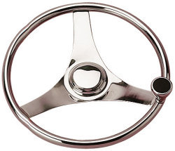 Steering Wheel w/Knob, Stainless Steel, 15-1/ …