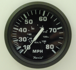 "Speedometer, 80 MPH, 4"", Sender Required …"