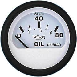 80 Psi Oil Pressure Guage, White - Faria