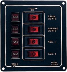 Switch Panel Alum. Vert 4 Swch - Seadog Line