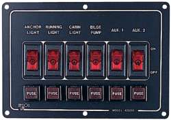 Switch Panel-Horizontal 6 Alum - Seadog Line