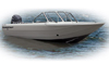 An Aluminum Fishing Boats w/ High Windshield Mounted Forward Boat Example