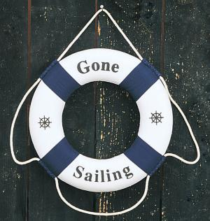 Decorative 'Gone Sailing' Life Ring, Blue, 12