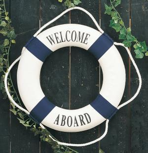 Decorative 'Welcome Aboard' Life Ring, Blue, 20