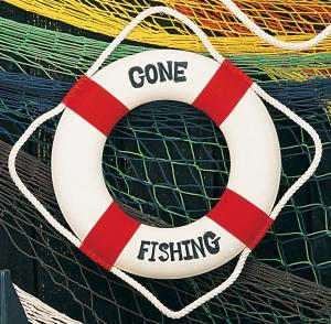 Gone Fishing' Life Ring, Red, 12