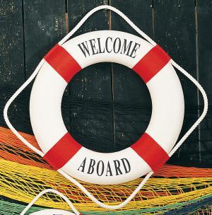 Decorative 'Welcome Aboard' Life Ring, Red, 20
