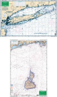 New York Harbor to Block Island Nautical Marine Charts, Large Print - Waterproof Charts