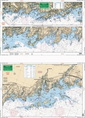 North Shore Long Island Sound, New Rochelle, New York to Norwalk, Connecticut Nautical Marine Charts, Large Print - Waterproof Charts