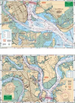 Charleston Harbor, South Carolina Nautical Marine Charts, Large Print - Waterproof Charts