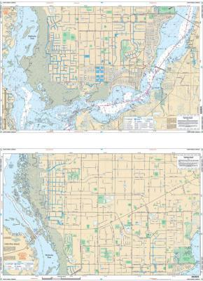 Cape Coral Canals, Florida Nautical Marine Charts, Large Print - Waterproof Charts