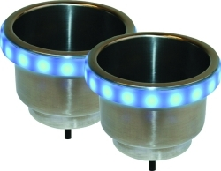Stainless Steel Cup Holders With LED Accent Bezels - SeaSense/Sea Tow Package