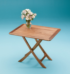 Large adjustable slat top table - Whitecap