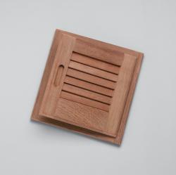 "Louvered door & frame-rand hand opening, 12"" x 12"" - Whitecap"