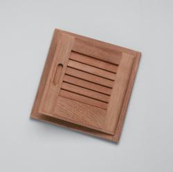 "Louvered door & frame-rand hand opening, 15"" x 15"" - Whitecap"