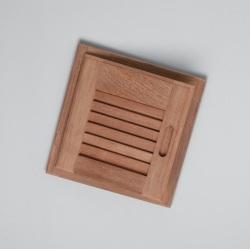 "Louvered door & frame-left hand opening, 15"" x 15"" - Whitecap"