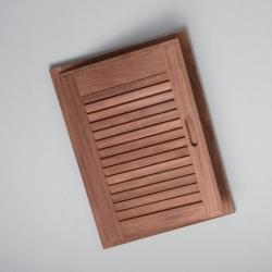 "Louvered door & frame-left hand opening, 15"" x 20"" - Whitecap"