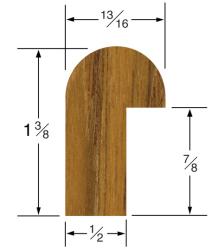 """Rail Edge Molding 1-3/8""""H x 13/16""""W, 5' length - Whitecap"""