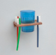 Glass & Toothbrush holder - Whitecap