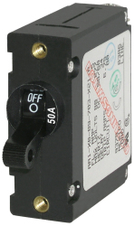 Circuit Breaker, 1-Pole, 50Amp, Black Toggle - Blue Sea Systems