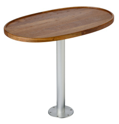 "Teak Oval Table with Stowable 30"" Pedestal - Garelick"