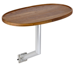 Teak Oval Table with Anodized Aluminum Side Mount - Garelick