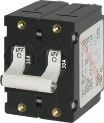 Circuit Breaker, 2-Pole, 30Amp, White Toggle - Blue Sea Systems