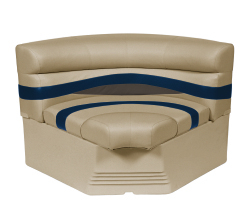 "Premier Pontoon 32"" Bow Radius Corner Section Seat, Mocha-Mocha Java Punch-Midnight-Rock Salt - Wise Boat Seats"