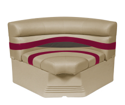 "Premier Pontoon 32"" Bow Radius Corner Section Seat, Mocha-Mocha Java Punch-Dark Red-Rock Salt - Wise Boat Seats"