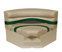 "Premier Pontoon 32"" Bow Radius Corner Section Seat, Mocha-Mocha Java Punch-Evergreen-Rock Salt - Wise Boat Seats"