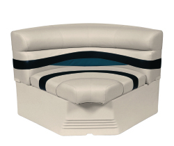 "Premier Pontoon 32"" Bow Radius Corner Section Seat, Platinum-Platinum Punch-Navy-Cobalt - Wise Boat Seats"