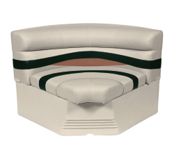 "Premier Pontoon 32"" Bow Radius Corner Section Seat, Platinum-Platinum Punch-Jade-Fawn - Wise Boat Seats"
