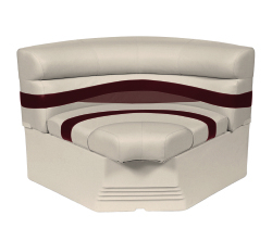 "Premier Pontoon 32"" Bow Radius Corner Section Seat, Platinum-Platinum Punch-Wineberry-Manatee - Wise Boat Seats"