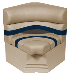 "Premier Pontoon 25"" Radius Corner Section Seat, Mocha-Mocha Java Punch-Midnight-Rock Salt - Wise Boat Seats"