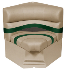 "Premier Pontoon 25"" Radius Corner Section Seat, Mocha-Mocha Java Punch-Evergreen-Rock Salt - Wise Boat Seats"
