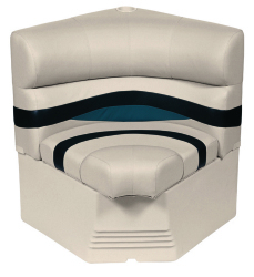 "Premier Pontoon 25"" Radius Corner Section Seat, Platinum-Platinum Punch-Navy-Cobalt - Wise Boat Seats"