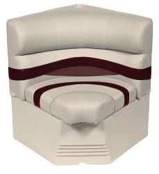 "Premier Pontoon 25"" Radius Corner Section Seat, Platinum-Platinum Punch-Wineberry-Manatee - Wise Boat Seats"