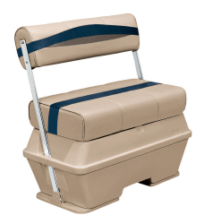 Premier Pontoon 70 Quart Cooler Flip-Flop Seat, Mocha-Mocha Java Punch-Midnight-Rock Salt - Wise Boat Seats