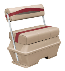 Premier Pontoon 70 Quart Cooler Flip-Flop Seat, Mocha-Mocha Java Punch-Dark Red-Rock Salt - Wise Boat Seats