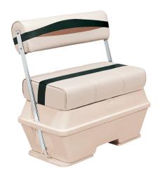 Premier Pontoon 70 Quart Cooler Flip-Flop Seat, Platinum-Platinum Punch-Jade-Fawn - Wise Boat Seats