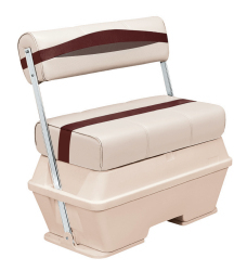 Premier Pontoon 70 Quart Cooler Flip-Flop Seat, Platinum-Platinum Punch-Wineberry-Manatee - Wise Boat Seats